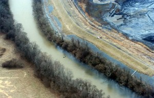 A coal ash spill in North Carolina's Dan River. According to the Waterkeeper Alliance,