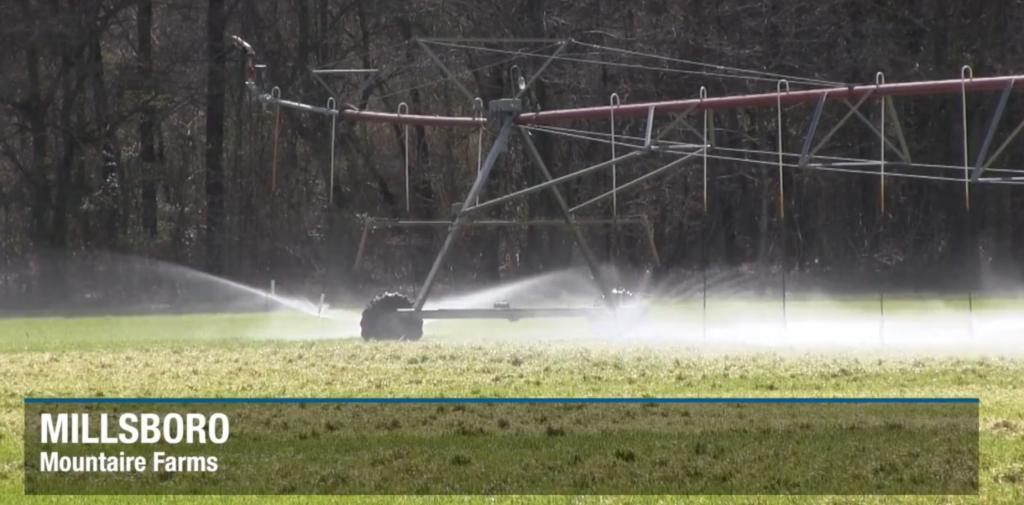 Spray machine over a field
