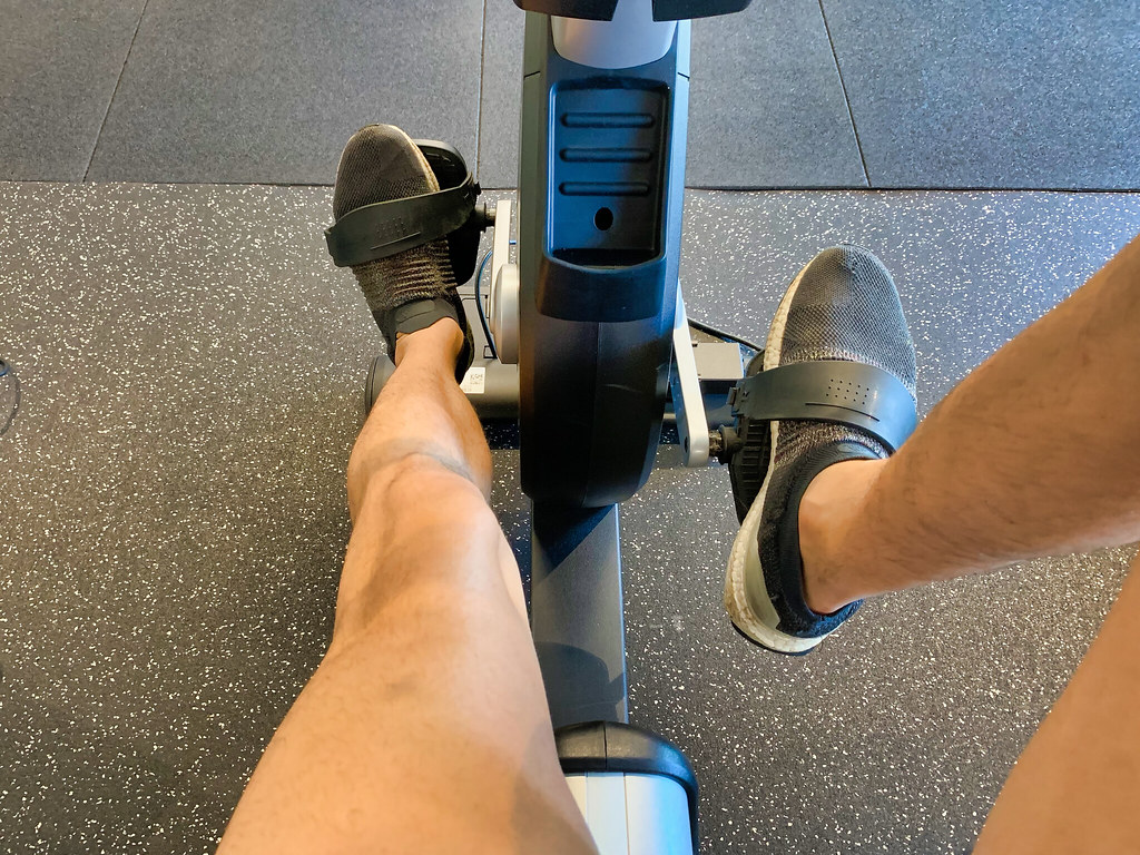 """""""Pedaling a Stationary Bike"""" by dfmobile is licensed under CC BY-NC-SA 2.0"""