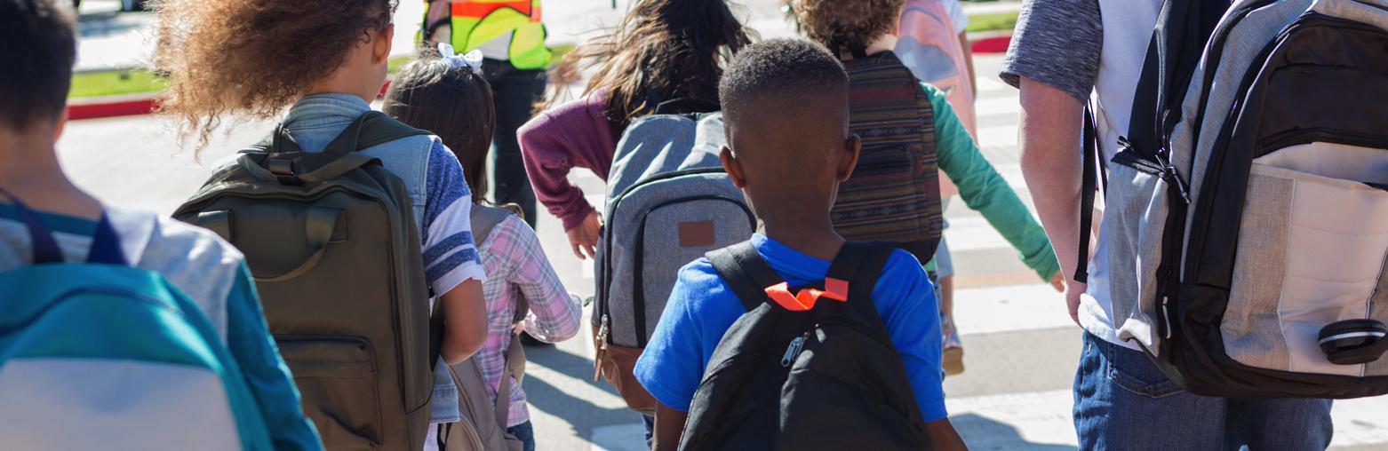 Children walking to class